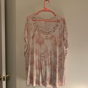 Pale Pink Acid Wash 24/7 Caged Neck Tee